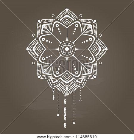 White Vertical Simple Floral Mandala