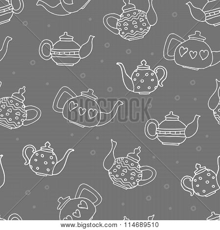 White Outline Teapots, Hand Drawn Seamless Pattern