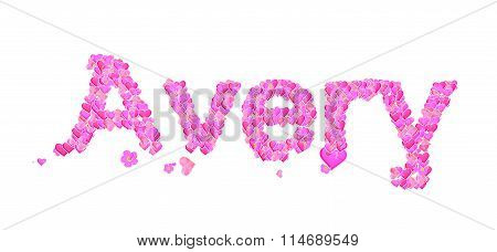 Avery Female Name Set With Hearts Type Design