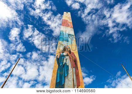 SANTO DOMINGO, DOMINICAN REPUBLIC - CIRCA JAN 2016: The obelisk at Malecon in Santo Domingo, Dominican Republic.