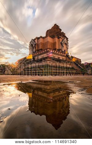 Ancient Pagoda At Wat Chedi Luang Temple 700 Years In Chiang Mai, Thailand.