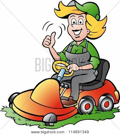 Vector Cartoon Illustration Of A Handy Gardener Woman Riding On A Lawnmower
