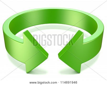 Green horizontal rotation arrow sign. 3D