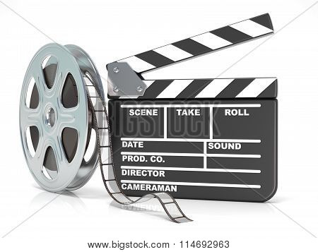 Film reel and movie clapper board. Video icon. 3D