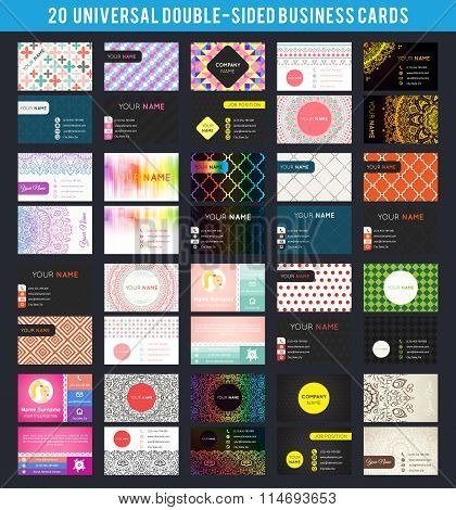 Big set of business card templates. Vector illustration for modern design.