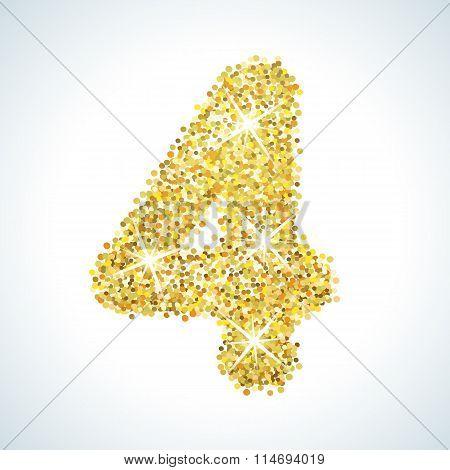 Four number in golden style. Vector illustration gold design