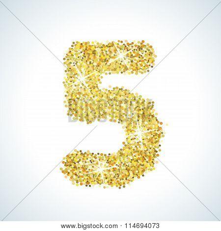 Five number in golden style. Vector illustration gold design
