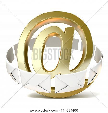 Envelopes around golden e-mail sign. 3D