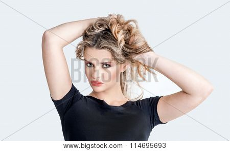 Expressive Beautiful Blonde Girl Posing