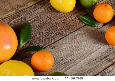 Allsorts From A Citrus On Wooden Background