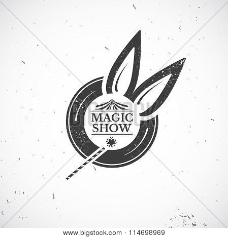 Circus vintage badge, magic show vector illustration