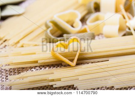 Variety Of Types And Shapes Italian Pasta