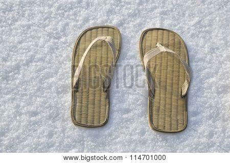 Summer Flip Flop Sandals On The White Snow