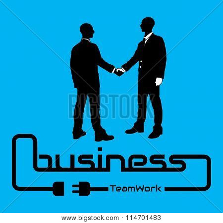 Business Teamwork Background Flyer Poster Desig Blue