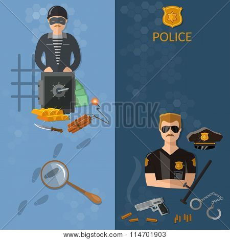 Crime And Punishment Vector Banners Thief And Policeman