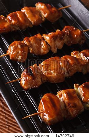 Cooking Chicken Yakitori Of Grilled. Closeup Vertical