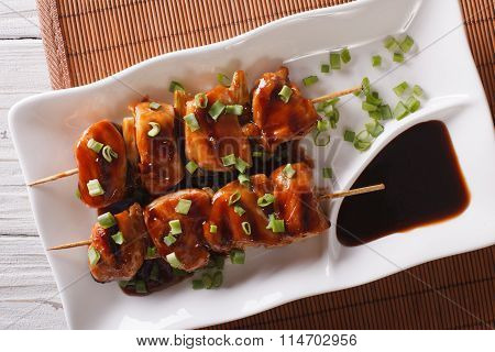 Yakitori Chicken With Green Onions Close-up. Horizontal Top View