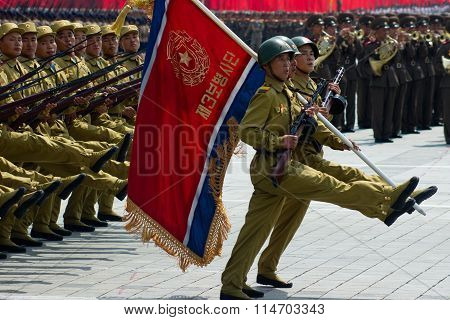 North Korean soldiers at the military parade in Pyongyang of the 60th anniversary of the conclusion of the Korean War. Pyongyang, North Korea. July 2013