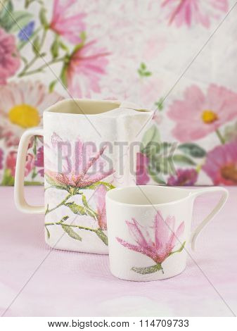 Decoupage Decorated Tea Pot And Tea Cup