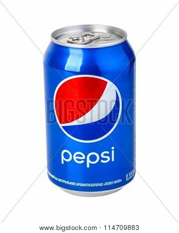 CHISINAU MOLDOVA- November 14 2015: Pepsi can on white background. Pepsi is a carbonated soft drink produced and manufactured by PepsiCo.with clipping path
