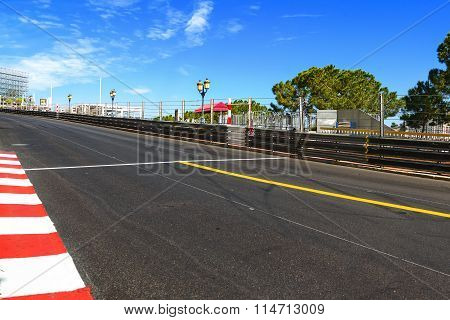 Monaco, Monte Carlo. Sainte Devote Straight Race Asphalt, Grand Prix Circuit