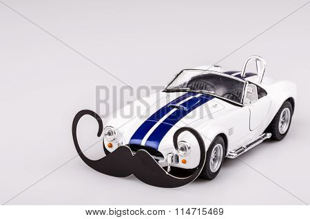 Bautiful Blue And White Car, Roadster With Mustache