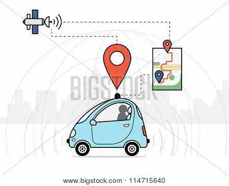 Self-driving car infographic illustration