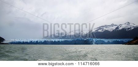 Frontal view at the blue face of the Perito Moreno Glacier in Patagonia Argentina