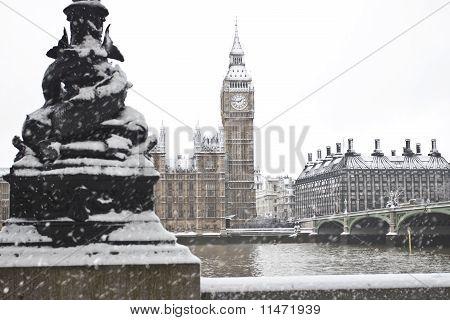 Big Ben in snow