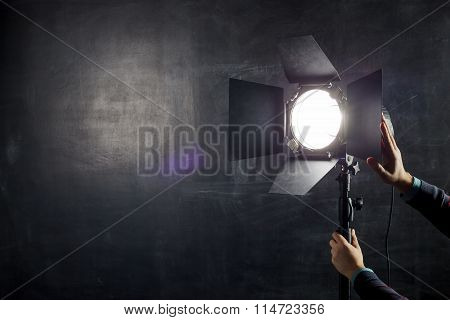Using Light Equipment In Photo Studio