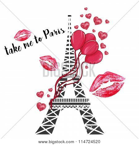 watercolor hand drawn illustration - Eiffel tower with ballons and hearts