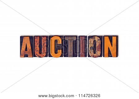 Auction Concept Isolated Letterpress Type