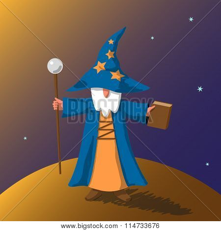 Vector EPS10 illustration cartoon old wizard with magic book and staff