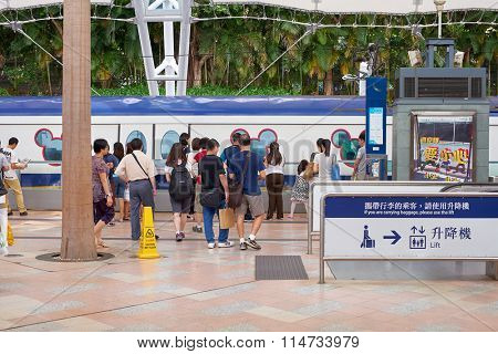 HONG KONG - MAY 11, 2012: The Mass Transit Railway station. MTR is the rapid transit railway system in Hong Kong. It is one of the most profitable systems in the world