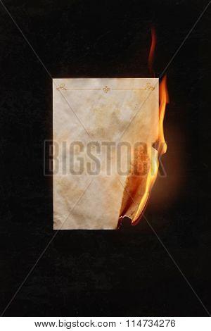 Burning sheet of paper
