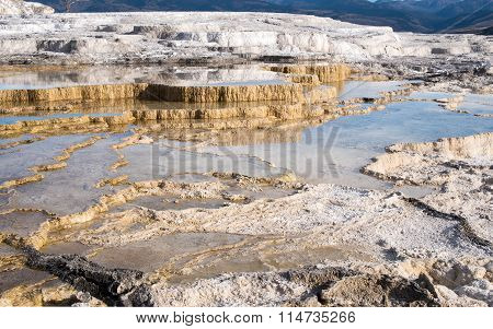 Travertine sinter terraces in Mammoth Hot Springs geothermal area Yellowstone National Park Wyoming USA