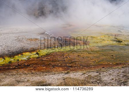 Bacteria pool in the Lower Geyser basin in Yellowstone National Park