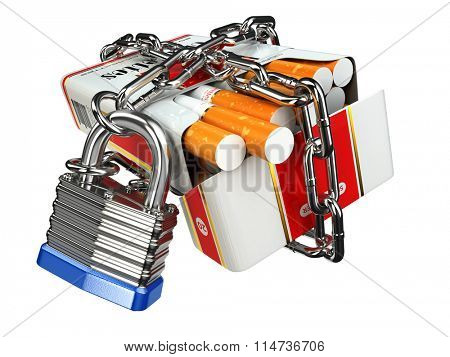 Stop smoking concept. Pack of cigarettes and lock with chain. 3d