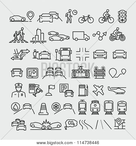 Traffic vector line icons set