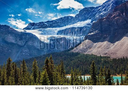 The famous Glacier Crowfoot over Bow River. Canada, the Rocky Mountains, Banff National Park