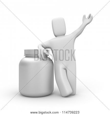 3d human with can of protein or gainer powder