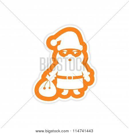 paper sticker on white background Santa Claus
