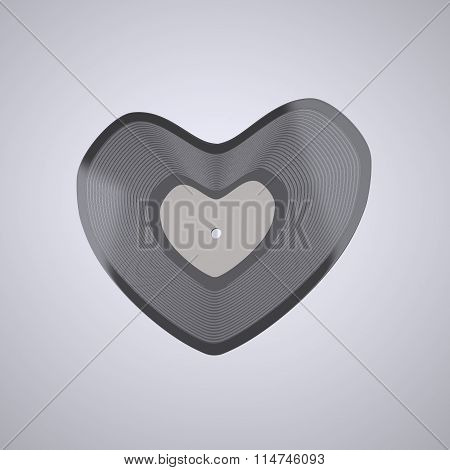 Heart shaped Vinyl record (Popular Music Concept)