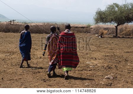 Masai peoples in the village