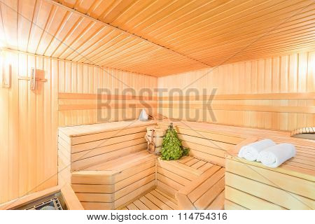 Photo Interior Empty Of Sauna In Light Colors