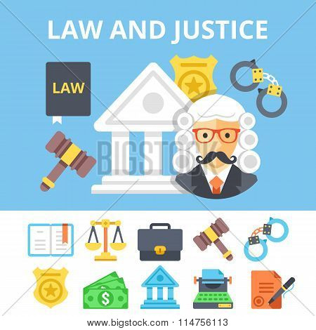 Law and justice flat icons set and juvenile justice system flat illustration. Vector illustration
