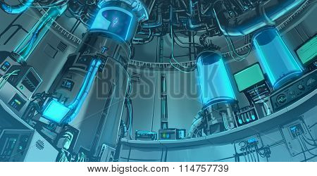 Cartoon Illustration Banckground Scene Of Massive Science Laboratory In Futuristic And Sci-fi Fantas