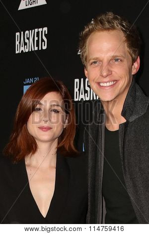 vLOS ANGELES - JAN 14:  Aya Cash, Chris Geere at the Baskets Red Carpet Event at the Pacific Design Center on January 14, 2016 in West Hollywood, CA