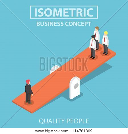Isometric Quality Businessman Weighing More Than Four Business People