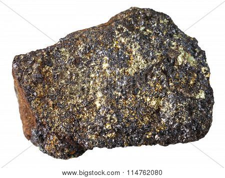 Magnetite Mineral Stone Isolated On White
